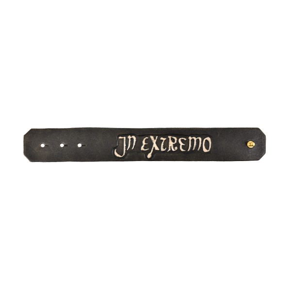 In Extremo Lederarmband Schriftzug & Niete dunkelbraun / beige