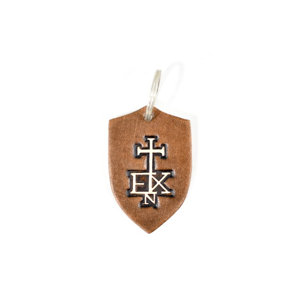 In Extremo Schlüsselanhänger Schild dunkelbraun / beige